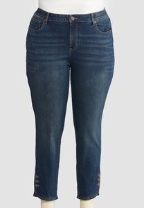 Plus Size Button Detail Denim Jeans