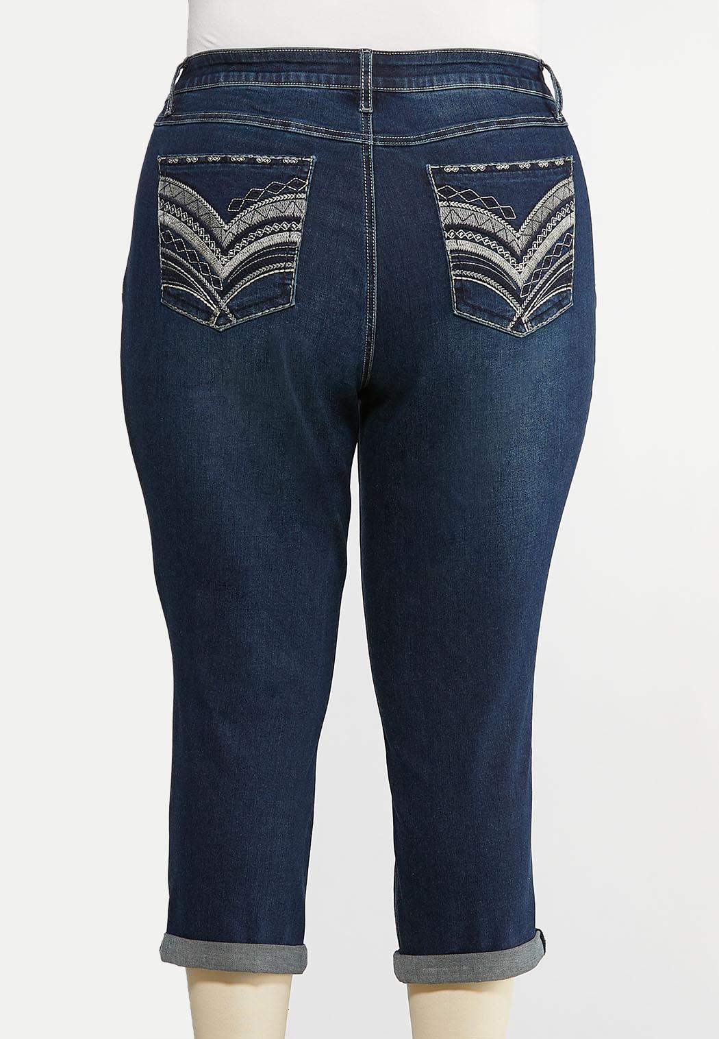 Plus Size Cropped Stitched Jeans