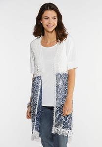 Plus Size Floral Lace Layering Vest