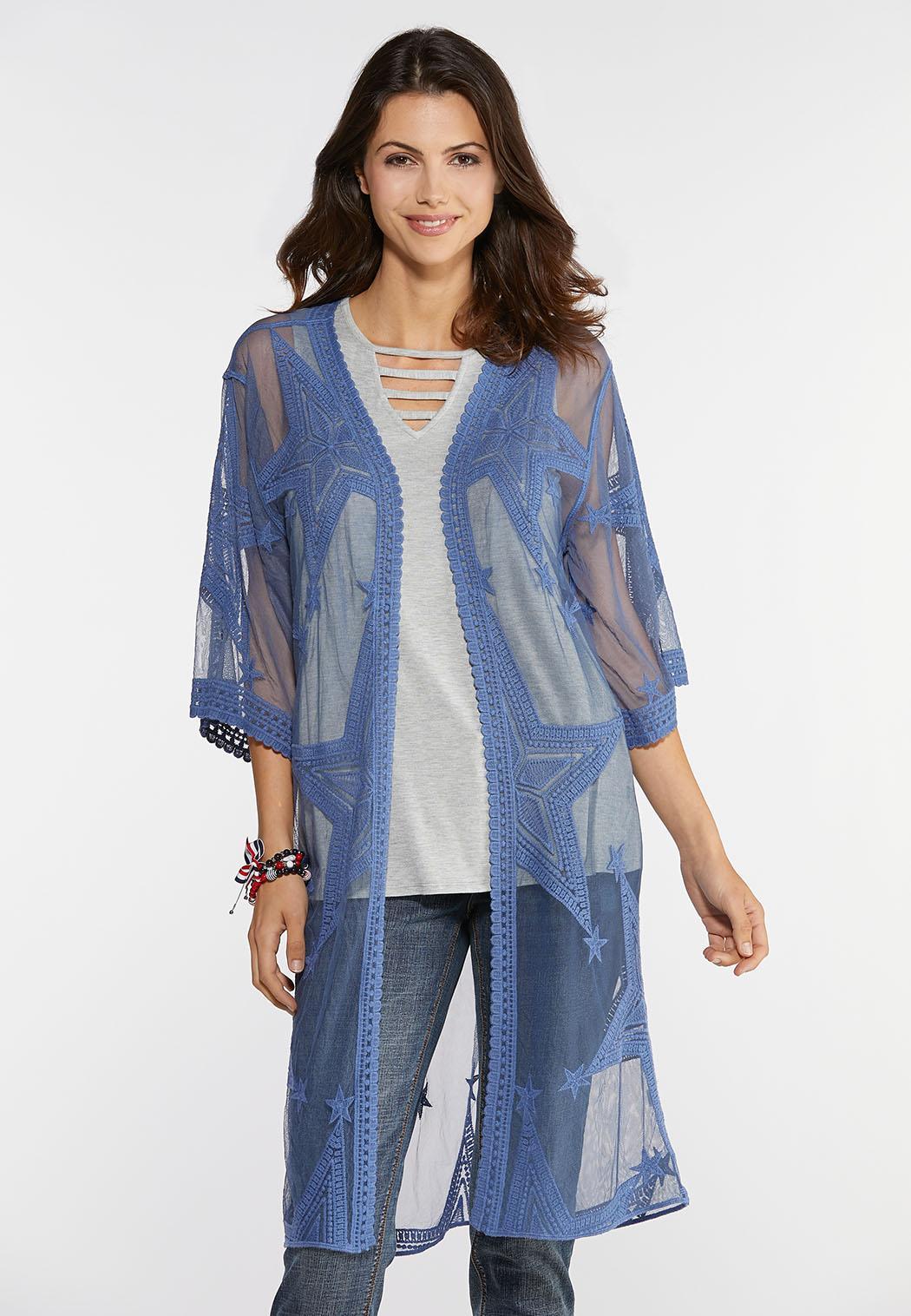 Plus Size Embroidered Star Kimono Tops Cato Fashions