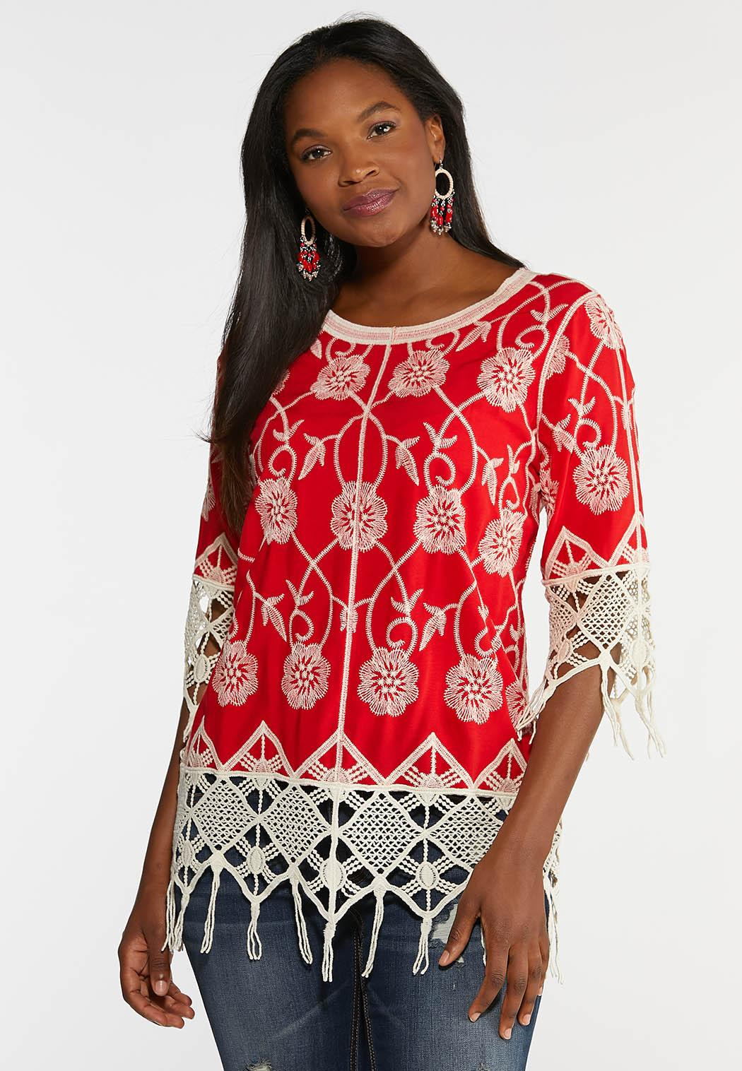 Fringed Embroidered Pullover Top