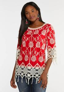 Plus Size Fringed Embroidered Pullover Top