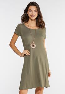 Plus Size Lattice Back Swing Dress