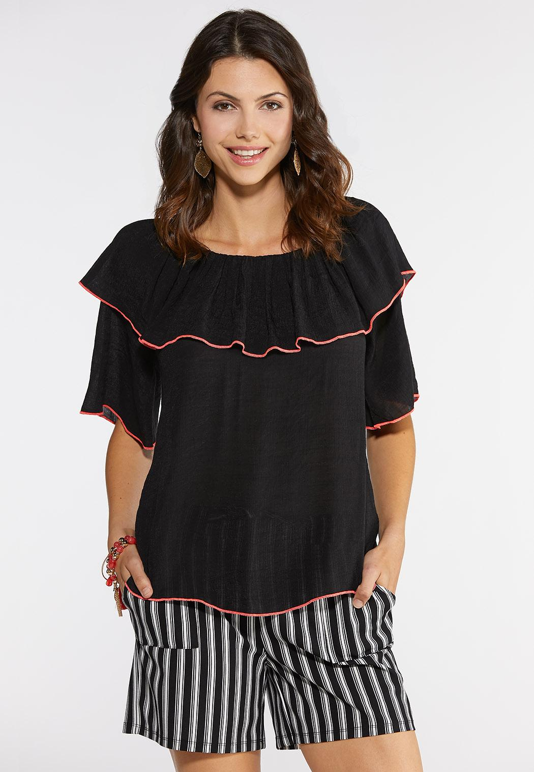 Plus Size Piped Flounce Convertible Top
