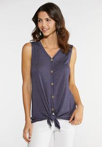 Plus Size Striped Button Down Tie Tank