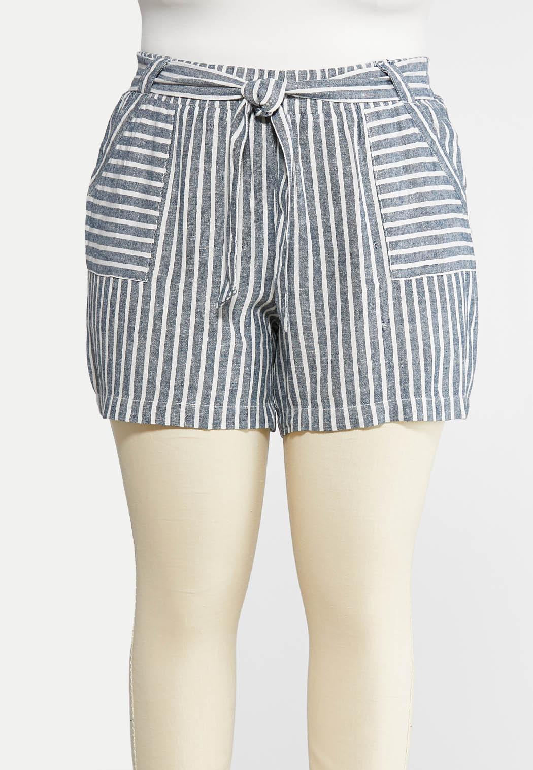 Plus Size Nautical Stripe Linen Shorts