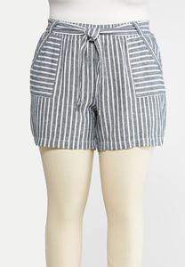Plus Size Nautical Stripe Linen Shorts