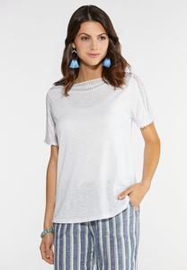 Plus Size Crochet Trim Knit Top