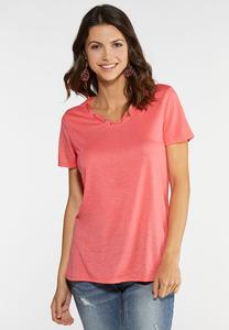 Plus Size Grommet V-Neck Tee