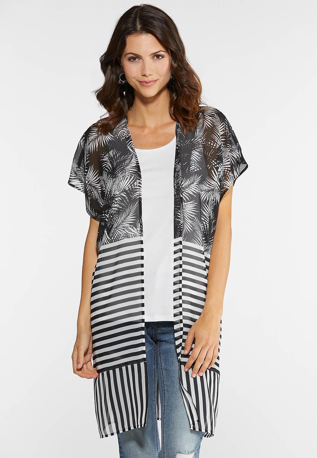 Palms and Stripes Kimono