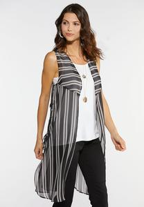 Plus Size Stripe Lace Up Vest