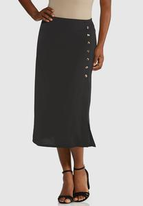 Animal Button Midi Skirt