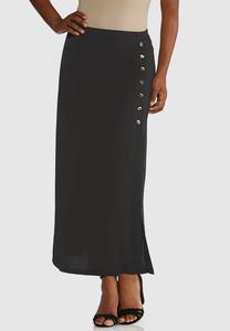 Plus Size Animal Button Midi Skirt