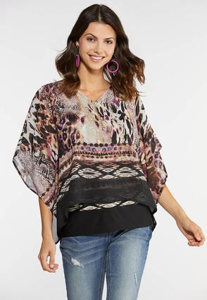 Plus Size Embellished Animal Print Capelet