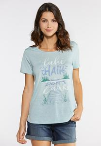 Plus Size Lake Hair Don`t Care Tee