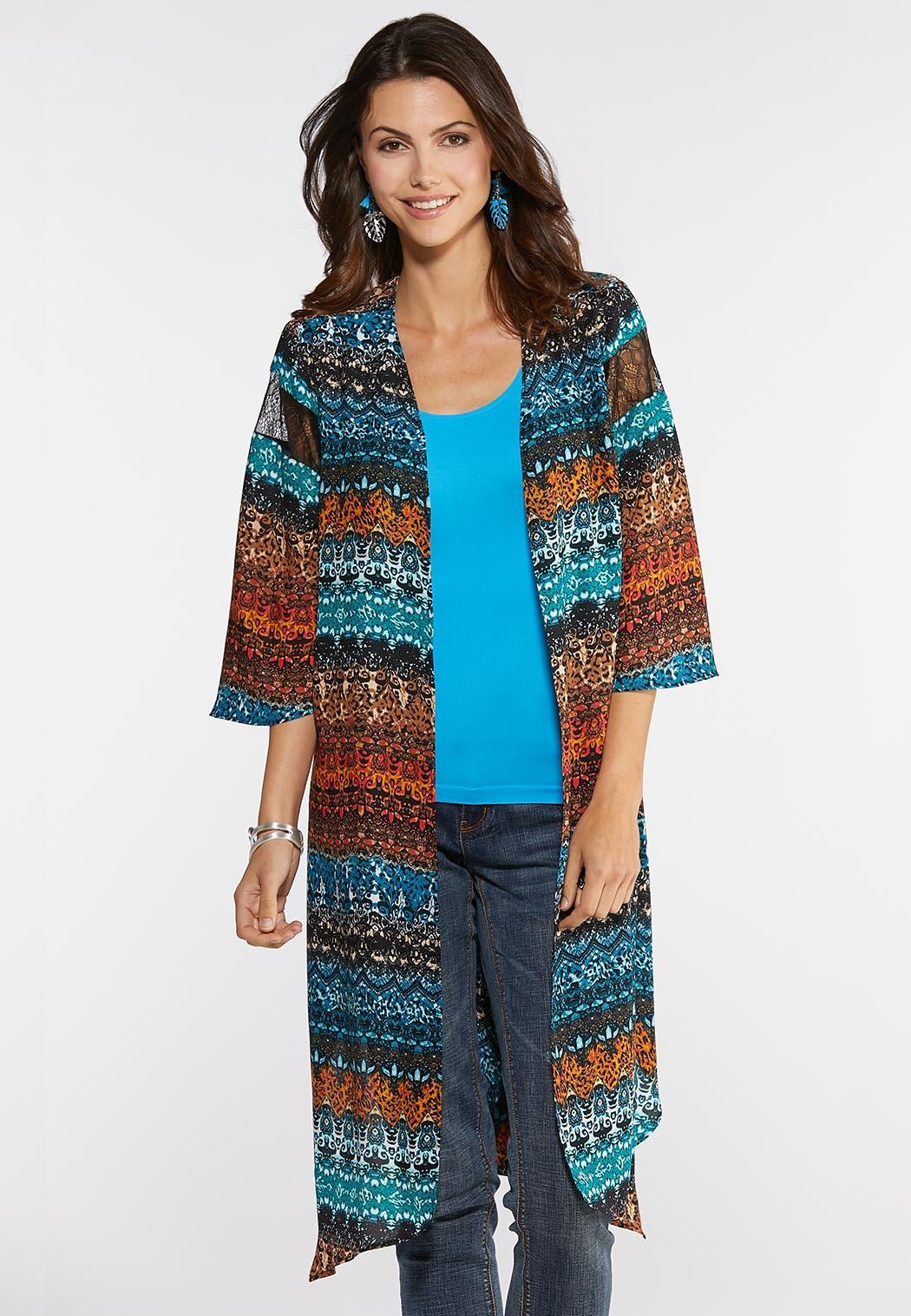 Plus Size Columbia Teal Kimono