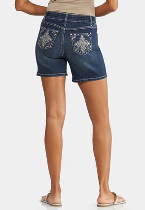 Embellished Pocket Denim Shorts