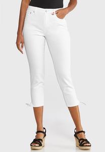 Tie Hem Cropped White Jeans