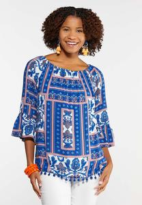 be16be90803b9 Plus Size Patchwork Pom Convertible Top