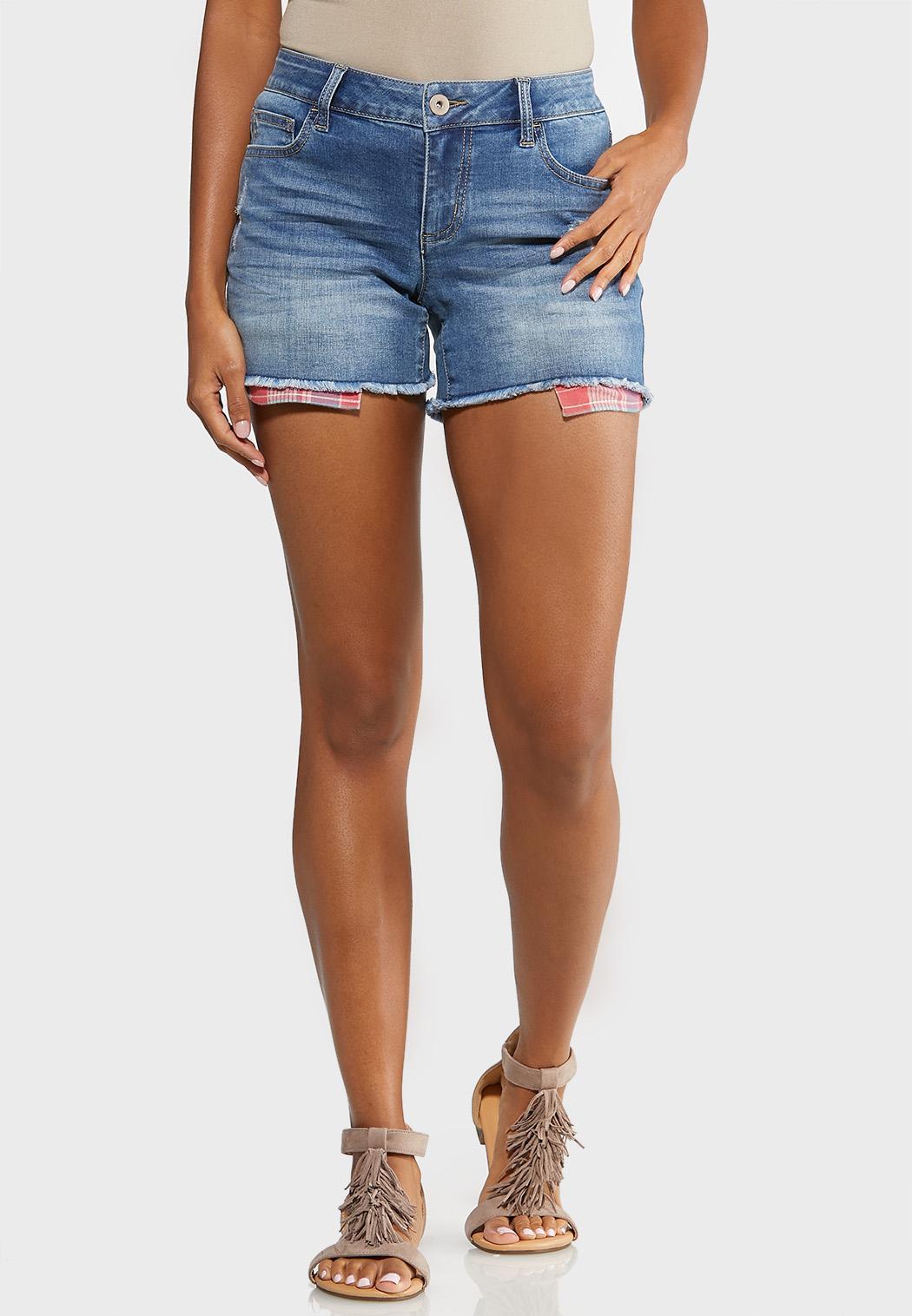 Berry Plaid Denim Shorts