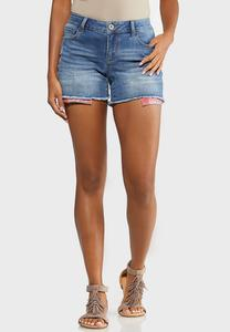 Berry Plaid Denim Shorts