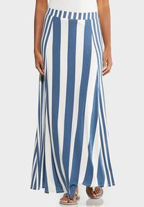 Plus Size Sailor Stripe Maxi Skirt