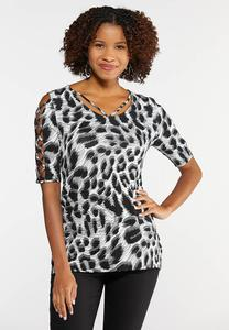 Plus Size Animal Print Lattice Sleeve Top