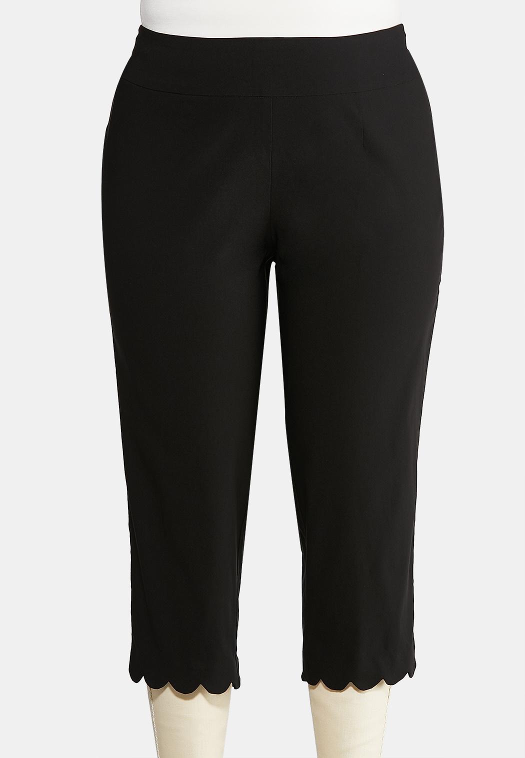 Plus Size Cropped Scalloped Hem Pants