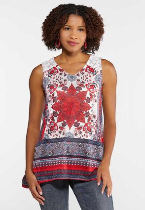 Plus Size Lace Shoulder Medallion Sharkbite Tank