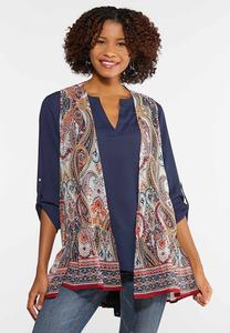 Plus Size Sheer Paisley Ruffled Vest
