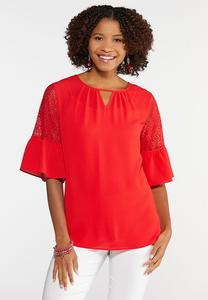 Plus Size Laser Cut Sleeve Top