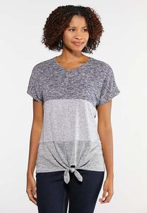 Mixed Fabric Tie Front Top