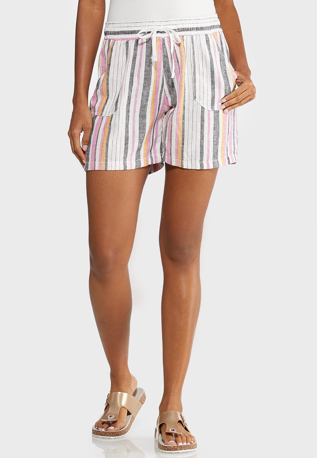 Stripe Linen Beach Shorts