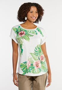 Plus Size Tropical Palm Print Tee