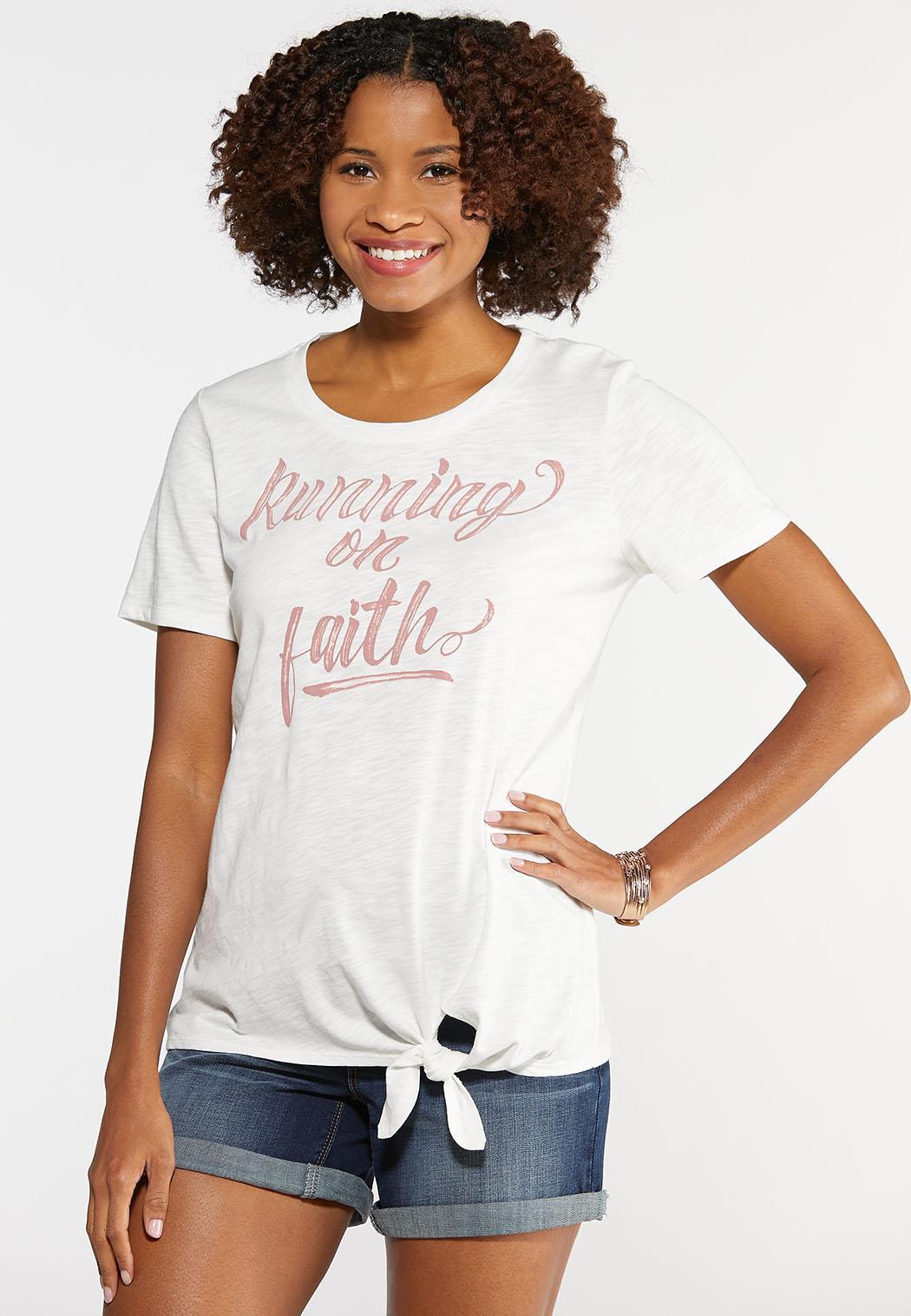 Plus Size Running on Faith Graphic Tee