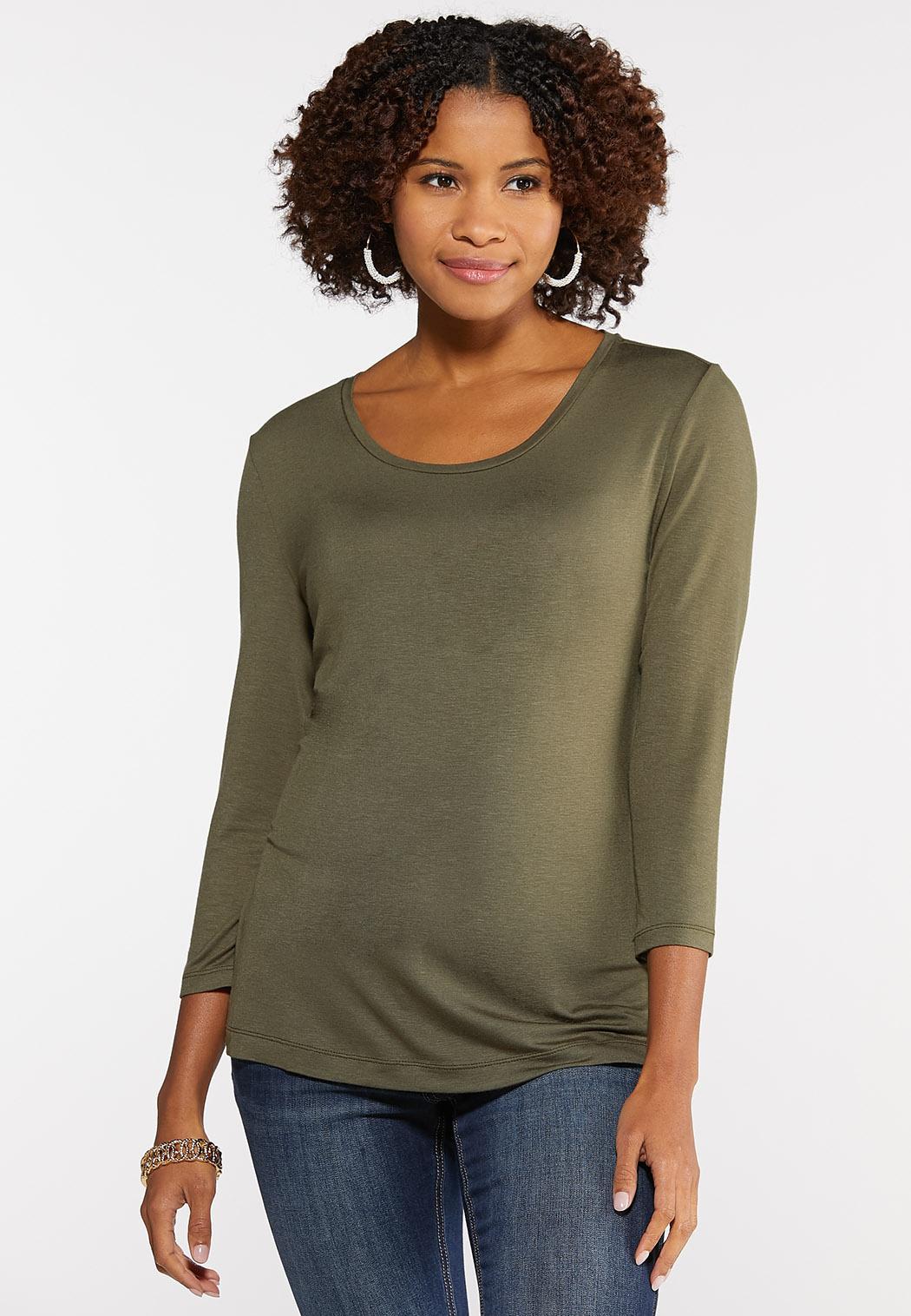 Plus Size Scoop Neck Knit Top