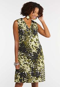 Plus Size Camo Zip Neck Shift Dress
