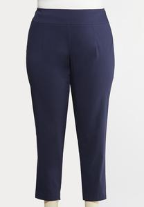 Plus Size Twill Slim Ankle Pants