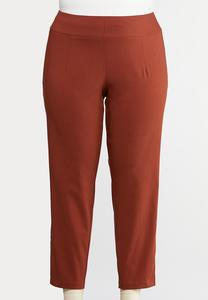Plus Size Twill Slim Ankle Pants