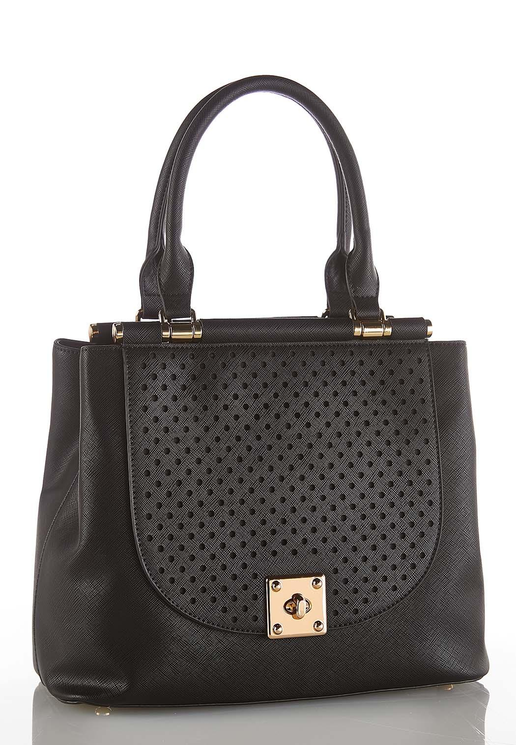 Perforated Flap Structured Satchel