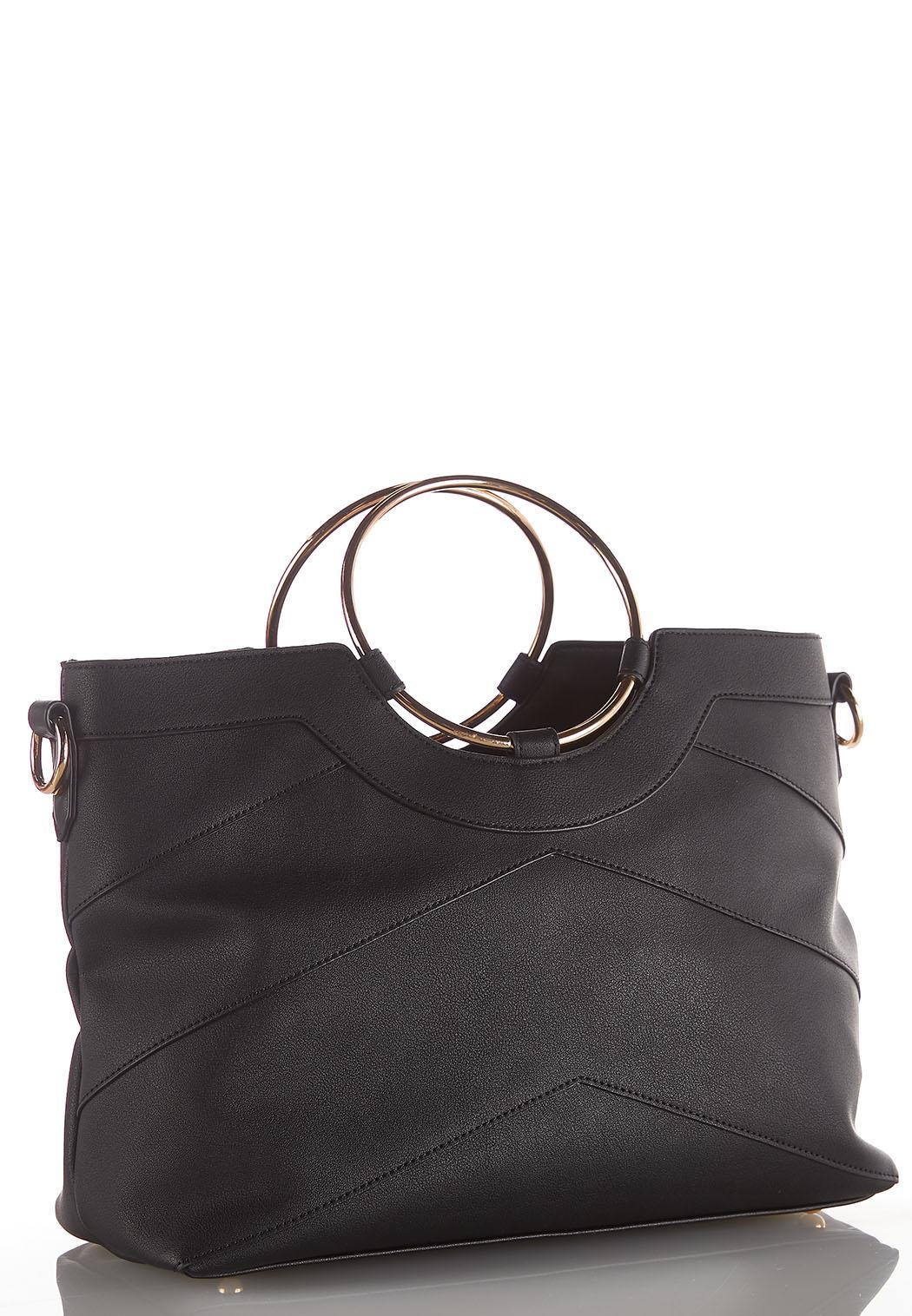 Ring Handle Seamed Handbag