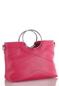 Ring Handle Seamed Handbag