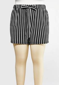 Plus Size Striped Tie Waist Short