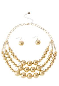 Gold Ball Necklace Set