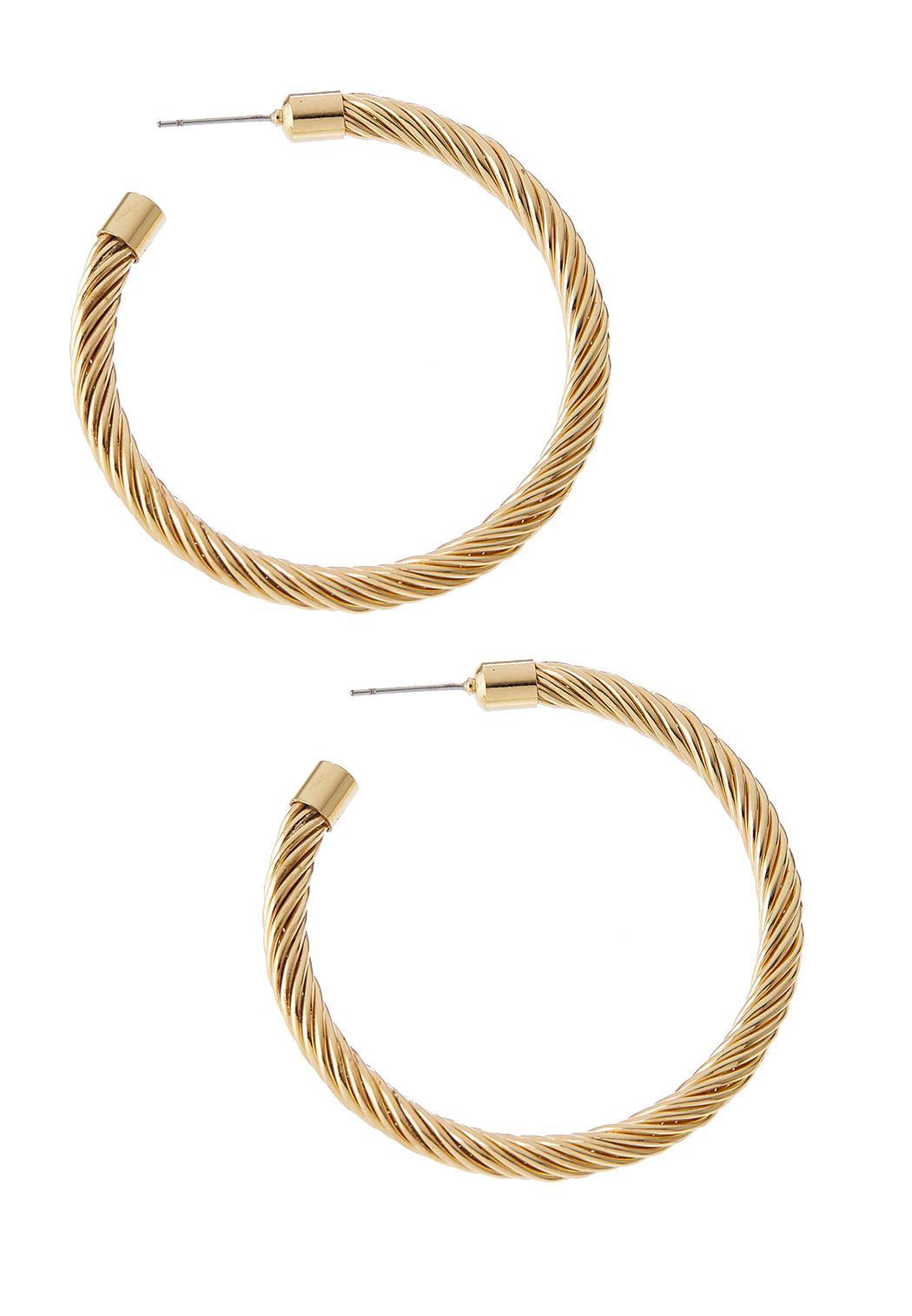 Gold Roped Hoop Earrings