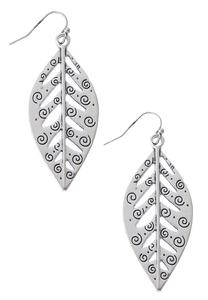 Etched Swirl Leaf Earrings