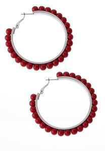 Color Beaded Hoop Earrings
