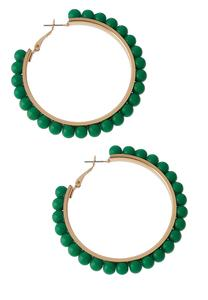 Color Beaded Hoop Earrings