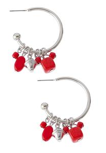 Red Shaky Bead Hoop Earrings