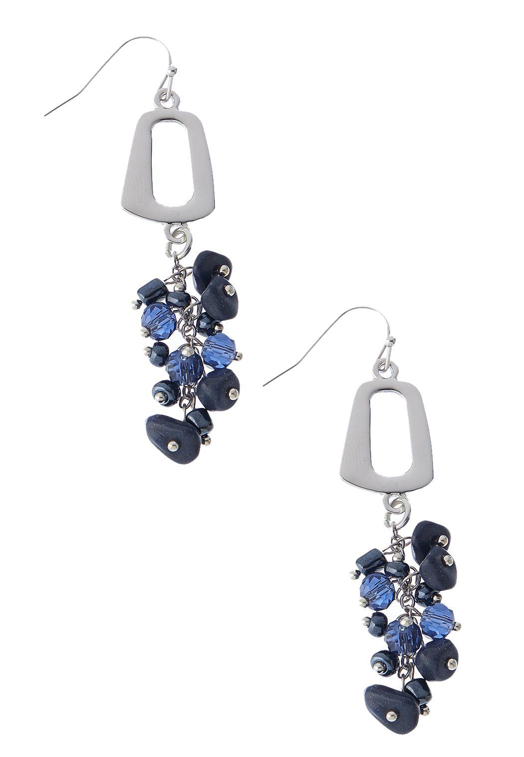 Metal Square Cluster Bead Earrings